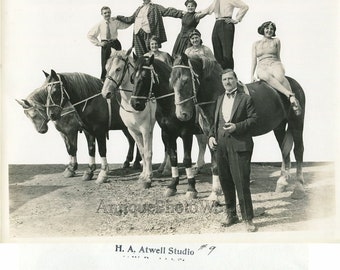 Loyal Repensky Equestrian Circus horse act with clown antique art photo
