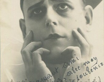 Gabriel Artois French tragic actor as Pierro antique hand signed photo pc
