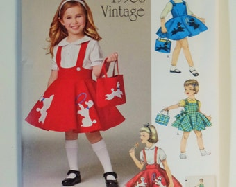 1950 Vintage Child's Jumper, Poodle Skirt, and Bag