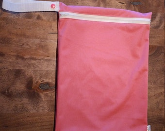 Candy Pink - SMALL Wetbag for Cloth Diapers, Wet swimsuits, Sweaty gym gear. 100% PUL.