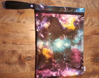 Galaxy print - SMALL Wetbag for Cloth Diapers, Wet swimsuits, Sweaty gym gear. 100% PUL.