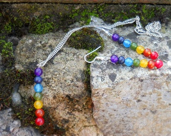 Gemstone Chakra Earrings and Necklace