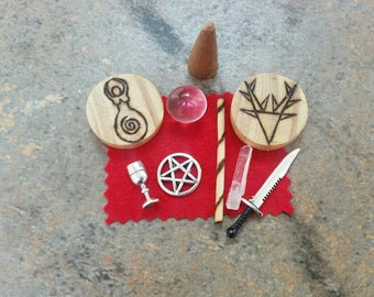 Travel Altar, pocket sized, personal deities, spiritual, spirituality, ritual, pagan, wicca, starter kit, pentacle, goblet, chalice, athame