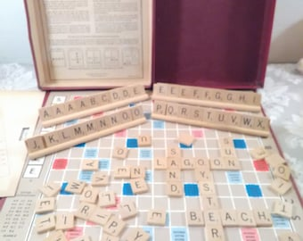 Scrabble, Mid Century Era Board Game, Wood Tiles, Family Game Night, Complete