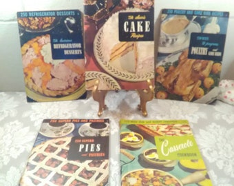 5 Mid Century Cookbooks, 1950, Pies, Cakes, Refrigerator Desserts, Main Dishes, Pastries, Casseroles, Poultry, 1175 Recipes, 1950s,