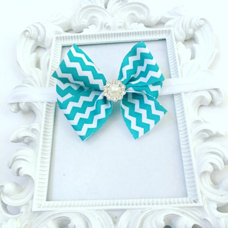 Teal And White Chevron Printed Hair Bow/Hairband Babies Teal image 0