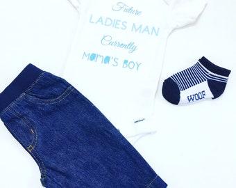 Ladies Man Tee Shirts, Ladies Man Bodysuit, Future Ladies Man Current Mamas Boy Tee Shirts, Mama's Boy Shirts, Future Ladies Man Tee Shirts