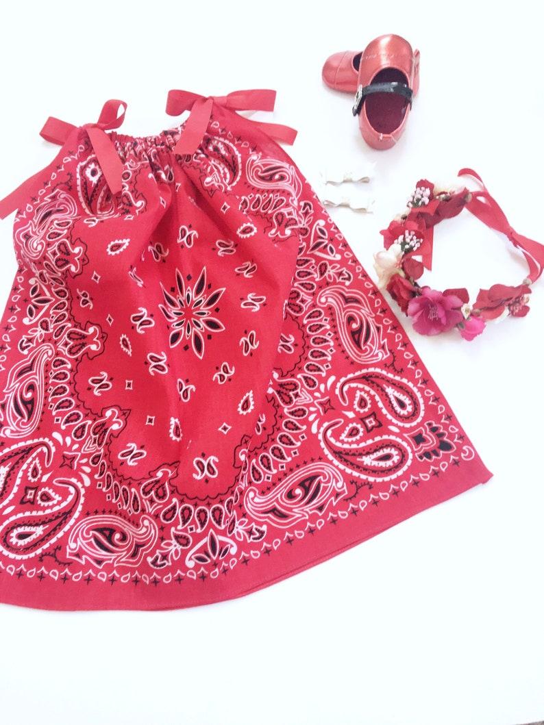 Red Pillow Case Dress Red Bandana Dresses Pillow Case image 1