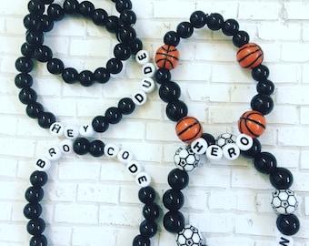 Boys Name Bracelets, Sport Bracelets For Kids, Soccer Ball Bracelets, Basketball Bracelets, Sports Jewelry, Kids Sports Bracelets