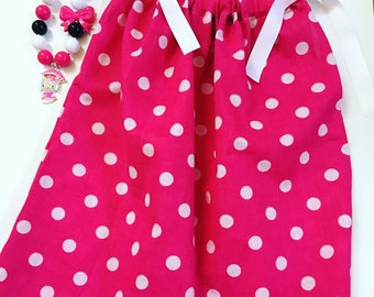 Girls Pink And White Polka Dot Pillow Case Dress, Girls Spring Dresses, Party Dresses, Pillow Case Dress For Toddlers, Toddler Spring Dress