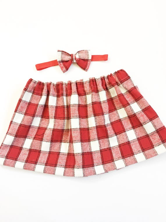 74313b2933 Girl's Red And White Plaid Skirts Girls Flannel Plaid | Etsy