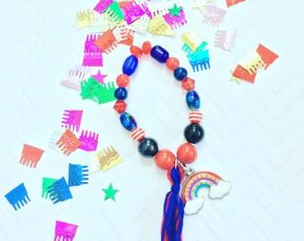 Rainbow Tassel Bracelet, Personalized Girl's Beaded Bracelets, Kid's Tassel Bracelets, Girl's Personalized Bracelets, Girl's Charm Jewelry