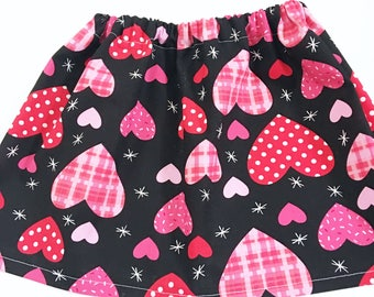 Girl's Valentine's Day Skirts, Valentine's Day Clothing, Valentine's Skirts, Girl's Pink Hearts Valentine's Day Skirts, Girls Skirts