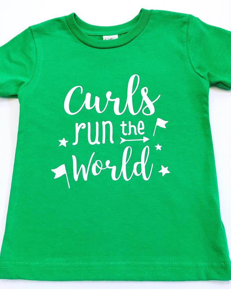 Curls Run The World Shirts Girls With Curls Tee Shirts image 0