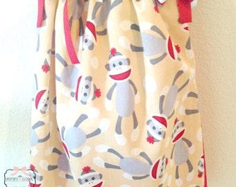 Monkey Sock Pillow Case Dress, Monkey Sock Bandana Dress, Girls Spring Dresses, Girls Summer Dresses, Girls Party Dresses, Toddler Dresses