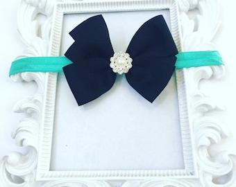 Girls 3 Inch Black Hair bow With Rhinestone, Turquoise Girl's Hair bows, Turquoise Headbands/Bows For Girls, Infant Black Hair Bow