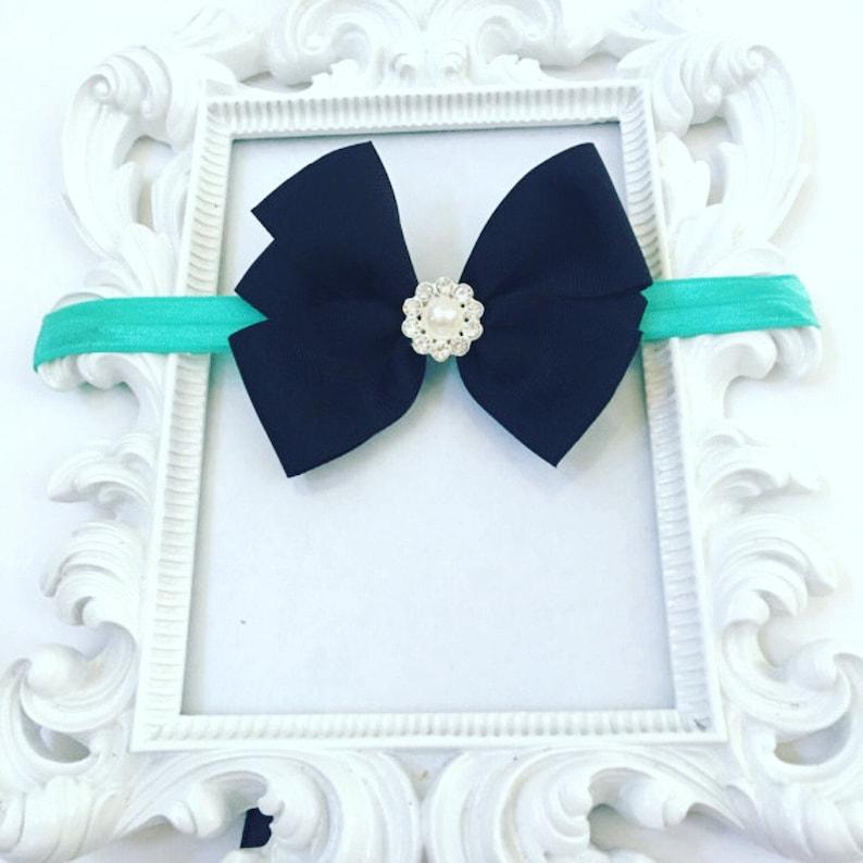 Girls 3 Inch Black Hair bow With Rhinestone Turquoise image 0