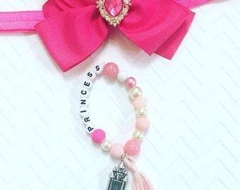 Pink Princess Bracelet, Princess Castle Beaded Bracelet, Personalized Bracelets For Girls,  Kid's Tassel Bracelets, Girl's Charm Jewelry