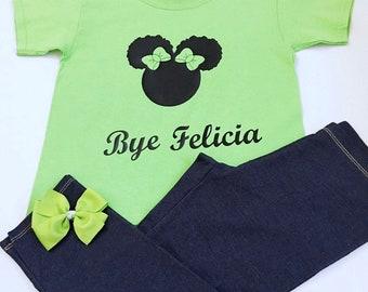 Girl's Bye Felicia Tee Shirt, Ladies Bye Felicia Tee Shirts, Green Bye Felicia Puff Girl Tee Shirts, Bye Felicia Tshirts, Puff Girl Shirts