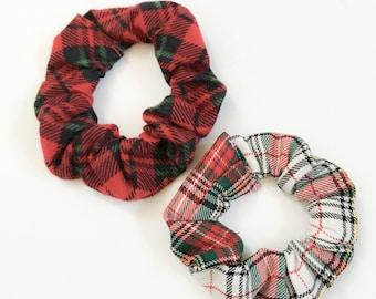 Plaid Hair Srunchies, Girls Hair Scrunchies, Holiday Hair Scrunchies, Christmas Scrunchies, Xmas Scrunchies, Set Of 2 Hair Scrunchies