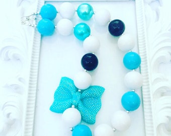 Turquoise And White Girl's Chunky Necklace, Girl's Turqoise Gumball Necklace, Inspired Frozen Chunky Necklace, Girl's Frozen Necklace