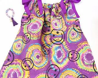 Little Girl Purple Smiley Pillow Case Dress, Pillow Case Dress, Pillow Case Dresses, Spring Dresses, Little Girl Dress, Girls Summer Dresses