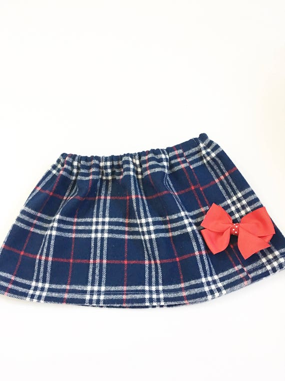 a2825438c Girl's Red And Blue Plaid Flannel Skirts Toddler Plaid | Etsy