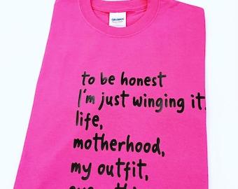 Motherhood Tee Shirts, Tee Shirts For Moms, Mother's Day Gifts, Gifts for Moms, Mom's Tee Shirts, Birthday Gift For Mom, Winging Motherhood