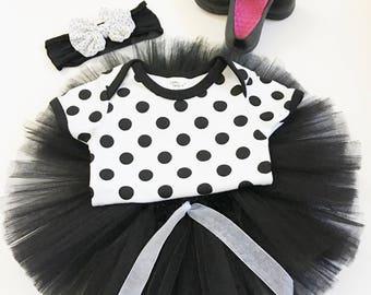 Infant Black And White Tutu Sets, Babies Polka Dot Tutu Sets, Take Newborn Home Outfit, Baby Going Home Tutu Set, Baby's First Tutu Set