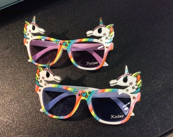 544b2248aa UNICORN PERSONALIZED SUNGLASSES Engraved with a Name. Crazy