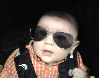 bd239772d67c2 TINY NON-MIRROR Personalized Aviators Engraved with a Name. For boys girls  ages 1 to 4. For ring bearer