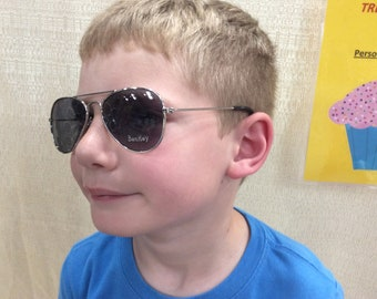 e3b80ed0738c1 MIRROR AVIATORS PERSONALIZED with a Name. Ages 1 to 4. For both boys and  girls. Excellent protection from the sun