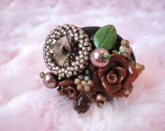 Flower Bouquet Ring, Brown Clay Rose and Swarovski Crystal Adjustable