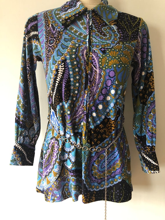 Vintage Retro Psychedelic ,Flower Power Top, Tunic