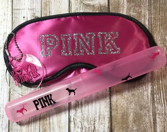 Pink Bag Tag Sleep Mask Toothbrush Case PINK Party Favors Birthday Gift