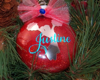 Personalized Cheerleader Cheer Team Cheer Coach Christmas Glitter 3 Inch Disc Shatterproof Ornament