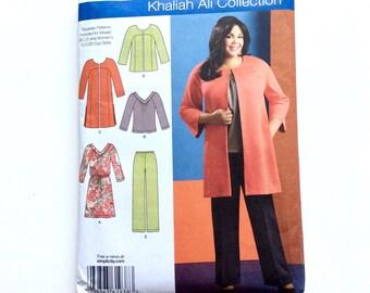 Simplicity 1938, Women's Knit Dress or Top, Pants, Coat, Jacket Pattern, Khaliah Ali Collection, Size 20W-28W, Plus Size, Uncut Pattern