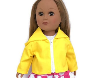 Yellow Hooded Doll Jacket, 18 Inch Doll Yellow Rain Jacket, 18 Inch Doll Clothes