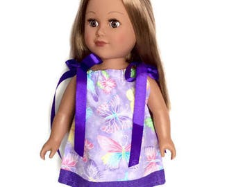 18 Inch Doll Clothes, Purple Butterfly Doll Dress, Pillowcase Dress, 18 Inch Doll Dress,  Summer Doll Clothes