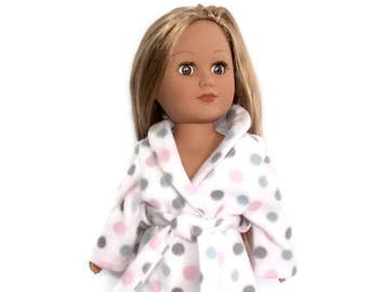 18 Inch Doll Robe, Pink Polka Dot Bathrobe, Spa Robe, 18 Inch Doll Clothes