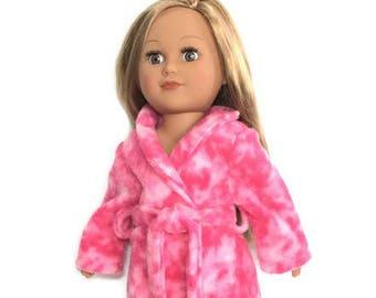 18 Inch Doll Robe, Pink Doll Bathrobe, Spa Robe, 18 Inch Doll Clothes