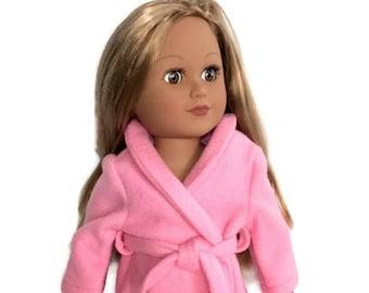 18 Inch Doll Clothes, Pink Fleece Bathrobe, Spa Robe, 18 Inch Doll Robe