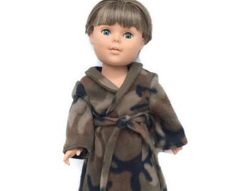 18 Inch Boy Doll Clothes, Doll Robe, Boy Doll Robe, Camoflague Bathrobe, Camo Robe, Spa Robe