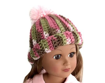 Pink Camo Doll Hat, Crocheted Doll Hat, 18 Inch Doll Hat, Pink Camouflage Pom Pom Hat, 18 Inch Doll Beanie, Winter Doll Clothes
