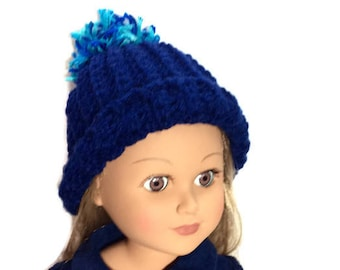 Navy Blue Crocheted Doll Hat, 18 Inch Doll Clothes, Blue Pom Pom Hat, 18 Inch Doll Beanie, Winter Doll Clothes
