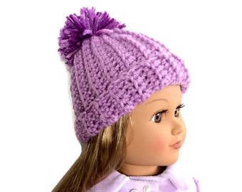 Purple Doll Hat, Crocheted Doll Hat, 18 Inch Doll Hat, Purple Hat with Pom Pom, Winter Doll Clothes
