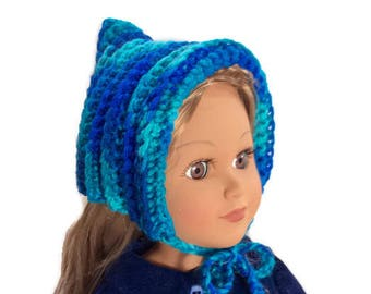 Teal Pixie Hat, Variegated Crocheted Doll Pixie Hat with Ties, 18 Inch Doll Hat, Winter Doll Clothes
