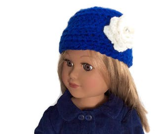 Blue Doll Hat, Crocheted Doll Hat, Blue Doll Beanie, 18 Inch Doll Clothes, Winter Doll Clothes