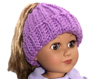 Purple Messy Bun Hat, Ponytail Beanie, Crocheted Doll Hat, 18 Inch Doll Clothes, Winter Doll Clothes