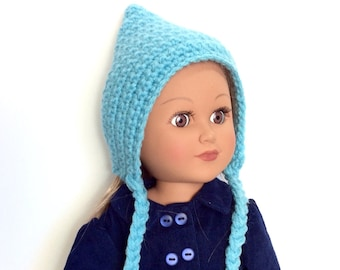 18 Inch Doll Teal Pixie Hat, Crocheted Doll Pixie Hat with Ties, Winter Doll Clothes